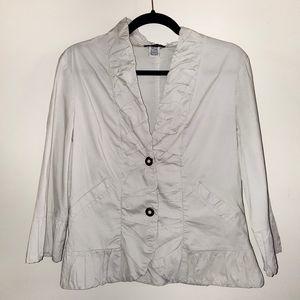 XCVI Cotton 3/4 Sleeve Ruffle Front Jacket M